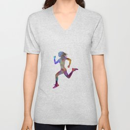 woman runner running jogger jogging silhouette 01 Unisex V-Neck