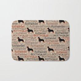 Rottweiler silhouette and word art pattern Bath Mat