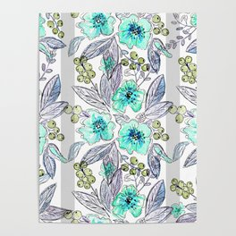 Floral watercolor pattern . Poster