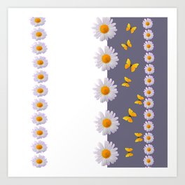 WHITE DAISIES & SPRING BUTTERFLIES & WHITE-GREY ART Art Print