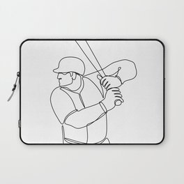 Baseball Player Batting Continuous Line Laptop Sleeve