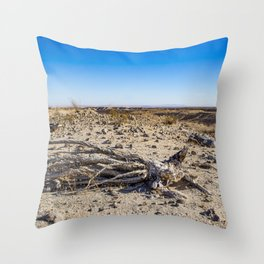 Uprooted Ocotillo Plant in the Middle of Dust and Rocks in the Anza Borrego Desert, California Throw Pillow