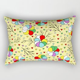 Birthday Party Colorful Flowers and Hearts on Yellow Rectangular Pillow