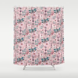 Rose Gold Dragonfly Garden | Pastel Shower Curtain