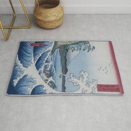 Sea Off Satta - Japanese Woodblock Print by Hiroshige Rug