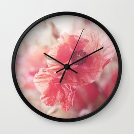 Romantic Poppy flower soft pastel colors Wall Clock