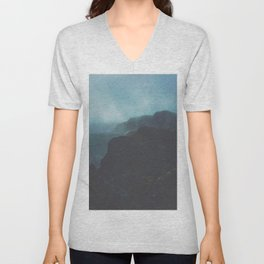 MIsty Cliffs Bluffs Blue Hues Minimalist Dark Landscape Unisex V-Neck