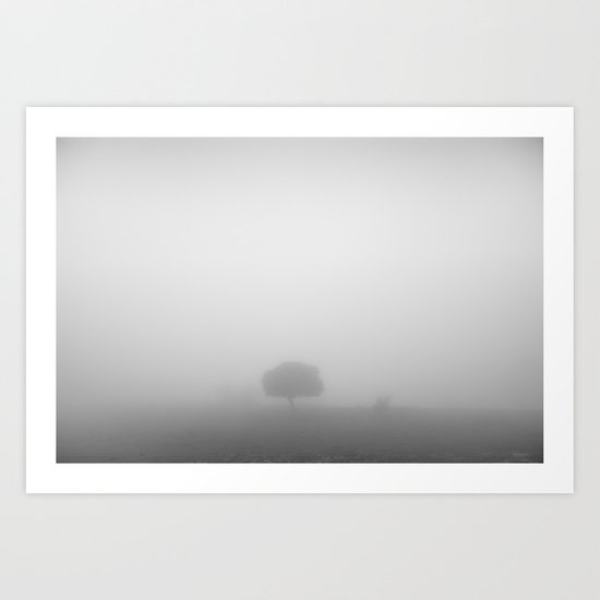 Lonely tree at the mist Art Print