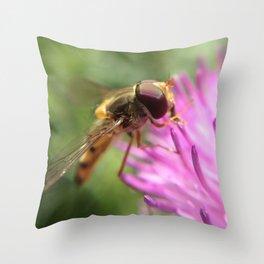 Busy Macro Bee Throw Pillow