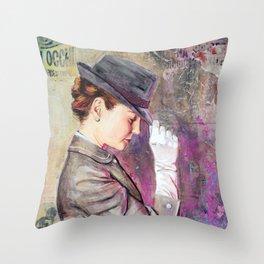 Grey Fedora Throw Pillow