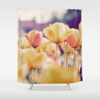 tulips Shower Curtains featuring Tulips by elle moss