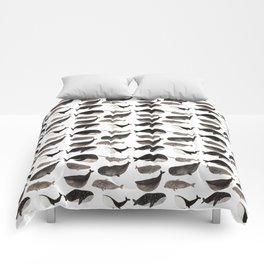 Black and white whales Comforters