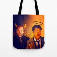 crowley Tote Bags featuring Good & Bad - Supernatural - Castiel Crowley by KanaHyde