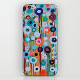 Abstract Medley of Flowers Circle Field of Blooms Painting by Prisarts iPhone Skin