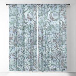 Watercolor Damask Pattern 08 Sheer Curtain