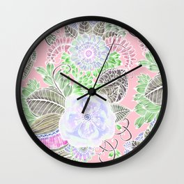 Blush pink lavender green white watercolor flowers Wall Clock