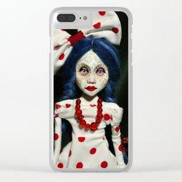 art doll, dots, blue hair Clear iPhone Case