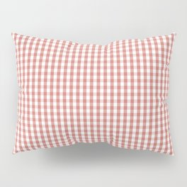 Small Camellia Pink and White Gingham Check Plaid Pillow Sham