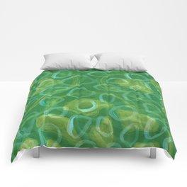 Green and White Lotus Pod Pattern Monoprint Comforters