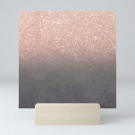Rose gold glitter ombre grey cement concrete Mini Art Print
