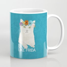 Be like Frida! White cat in flower crown on sky blue Coffee Mug