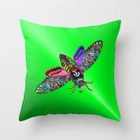 goth Throw Pillows featuring Goth Moth by Jan4insight
