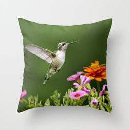 Hummingbird with Flowers Throw Pillow