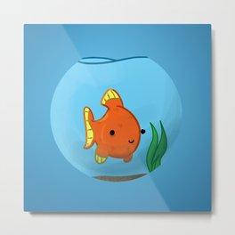 Goldfish in a bowl: Happy! Metal Print