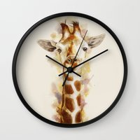 giraffe Wall Clocks featuring giraffe by beart24