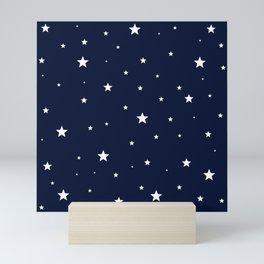 Scattered Stars White on Midnight Blue Mini Art Print
