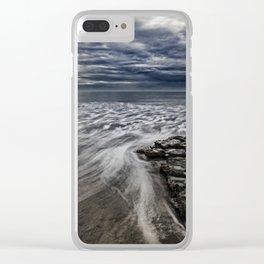 Storm Drama at Swami's Reef, Encinitas, California Clear iPhone Case