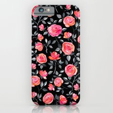 Roses on Black - a watercolor floral pattern iPhone 6s Slim Case