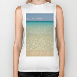 Crystal clear turquoise shaded waters of a sandy beach Biker Tank