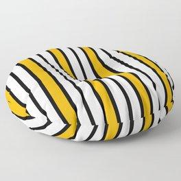 Yellow, Black & White Stripes Floor Pillow