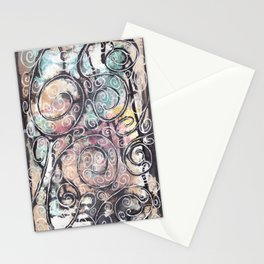 Sketchy Multicolor Swirls Stationery Cards