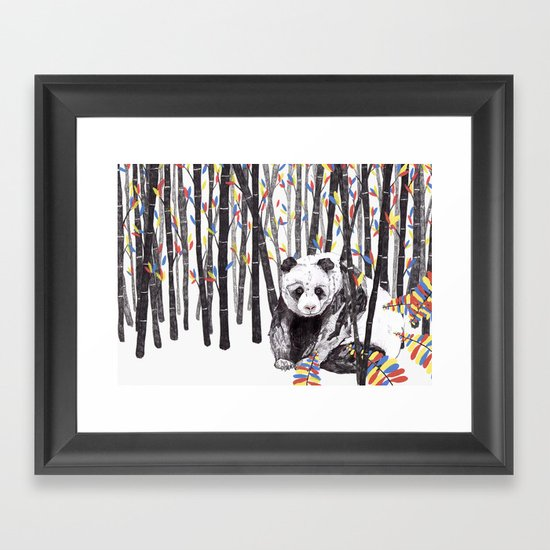 Panda Bear // Endangered Animals Framed Art Print