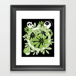 Black, white and green cats Framed Art Print
