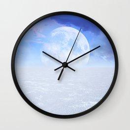 Desert Moon in Full Blue Wall Clock