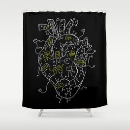 Gaming Control Tools | Heart Shower Curtain