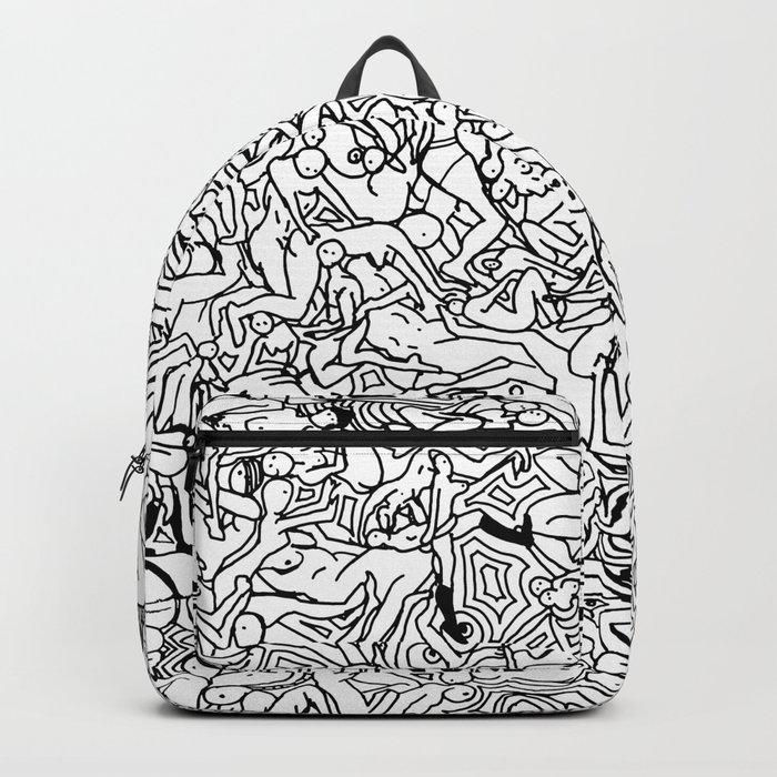Lots of Bodies Doodle in Black and White Backpack