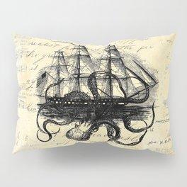 Kraken Octopus Attacking Ship Multi Collage Background Pillow Sham
