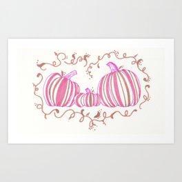 Fall Festive Pumpkins Pink Art Print