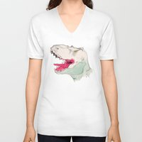 jurassic park V-neck T-shirts featuring JURASSIC PARK by Gianluca Floris