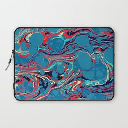 Vintage Marble Blue Watercolor Ink Abstract Pattern Laptop Sleeve