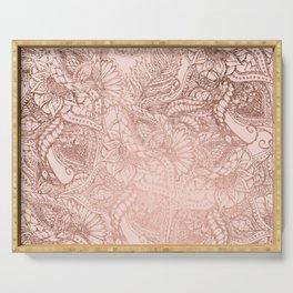 Modern rose gold floral illustration on blush pink Serving Tray