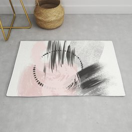 Blush Pink Gray Black Abstract painting -2, Nirvana Decorative abstraction, Rug