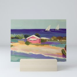 PINK COTTAGE BEACH Mini Art Print