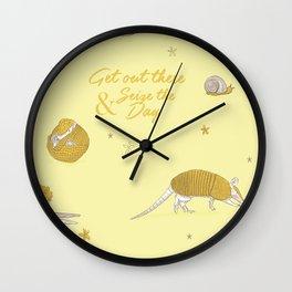 Yellow armadillo pattern Wall Clock