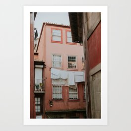 Pink Street and Laundry Art Print