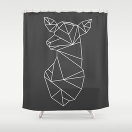 Geometric Doe (White on Grey) Shower Curtain